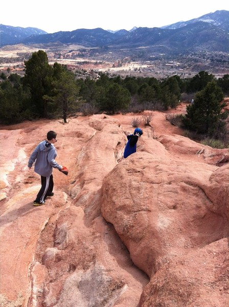 Kids Climbing on Rocks at Garden of the Gods